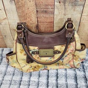 Chaps Yellow/Floral Satchel Handbag